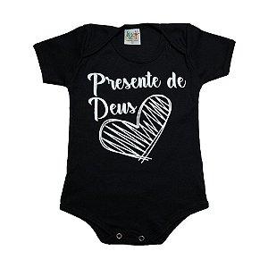 Body Bebê Frase Presente De Deus  Jeito Infantil Preto