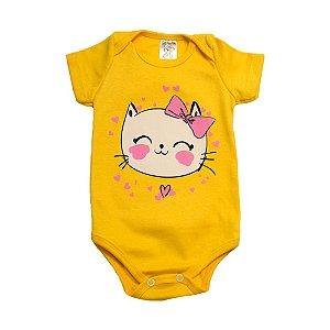 Body Bebê Gatinha Dlook Amarelo