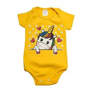 Body Bebê Unicórnio Dlook Amarelo