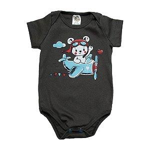 Body Bebê Urso Aviador Dlook Chumbo