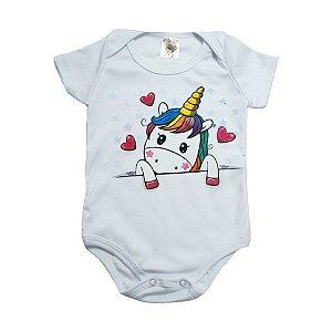 Body Bebê Unicórnio Dlook Branco