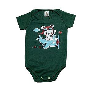 Body Bebê Urso Dlook Verde