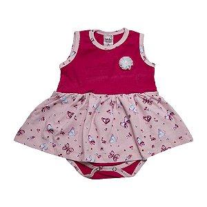 Body Vestido Bebê Com Aplique Sonho Do Bebê Pink