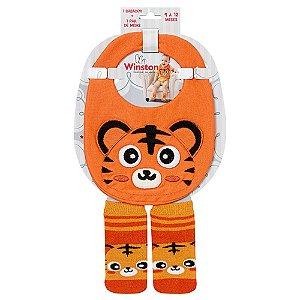 Kit Bebê Babador e Meias Tigre Winston Laranja