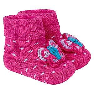 Meia Divertida Bebê Borboleta Winston Pink