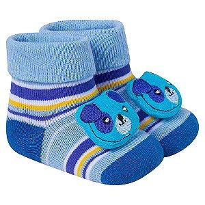 Meia Divertida Bebê Ursinho Winston Azul