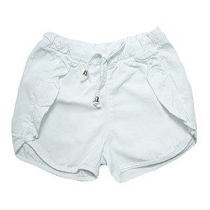 Shorts Sarja Com Babado Jeito Infantil Branco