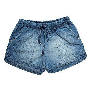 Shorts Jeans Bolso Bordado Jeito Infantil Azul