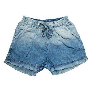 Shorts Jeans Com Elástico e Cadarço Jeito Infantil Azul