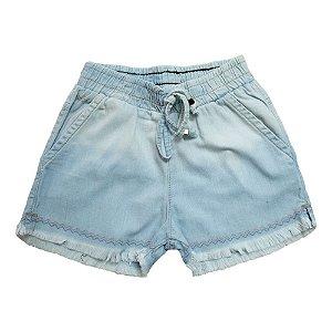 Shorts Jeans Com Elástico e Cadarço Jeito Infantil Azul Claro