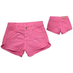Shorts Jeans Abertura Lateral Jeito Infantil Rosa