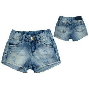 Shorts Hot Pants Jeans Jeito Infantil Azul