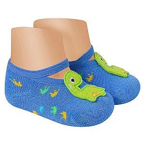 Meia Sapatilha Antiderrapante Dino Winston Azul