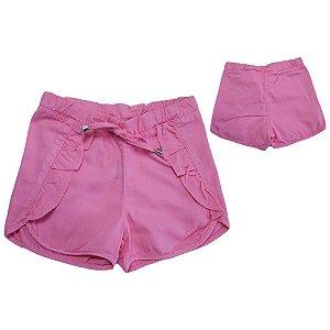 Shorts Sarja Com Babado Jeito Infantil Rosa
