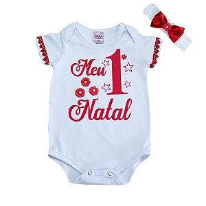 Body Bebê Meu 1° Natal Sonho Do Bebê Branco