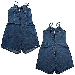 Macacão Jeans Juvenil Menina Detalhe Gota Jeito Infantil Azul