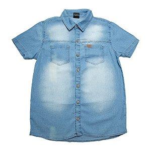 Camisete Jeans Infantil Com Bolsos Jeito Infantil Azul
