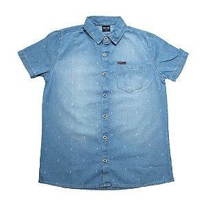 Camisete Jeans Infantil Com Bolsos e Estampa Jeito Infantil Azul