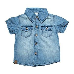Camisete Jeans Bebê Com Bolso Jeito Infantil Azul