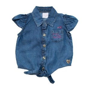 Camisete Jeans Infantil Com Nó Jeito Infantil Azul