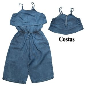 Macacão Infantil Jeans Pantacourt Jeito Infantil Azul