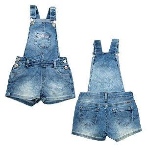 Jardineira Infantil Jeans Bolso Bordado Jeito Infantil Azul