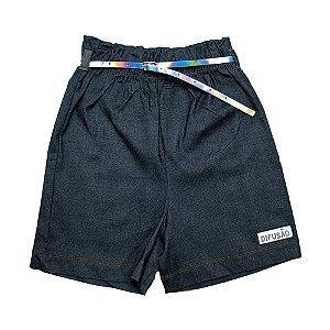 Shorts Juvenil Bengaline Com Cinto Difusão Preto
