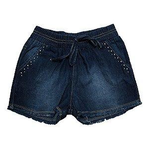 Shorts Jeans Bolso Strass Jeito Infantil Azul