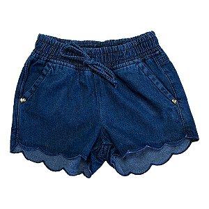 Shorts Jeans Bolso e Cadarço Jeito Infantil Marinho