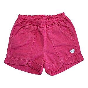 Shorts Sarja Infantil Aplique Coração Jeito Infantil Coral