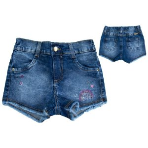 Shorts Jeans Infantil Bordado Jeito Infantil Azul