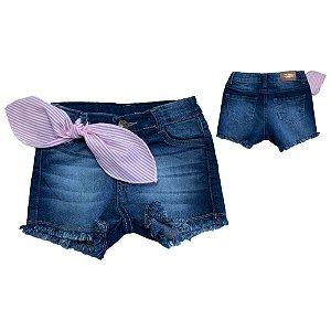 Shorts Jeans Com Lenço Jeito Infantil Azul