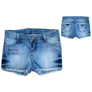 Shorts Jeans Com Bordado Jeito Infantil Azul