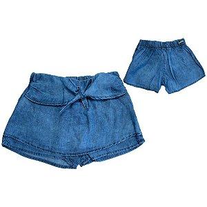 Shorts Saia Jeans Jeito Infantil Azul