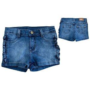 Shorts Jeans Infantil Babado Jeito Infantil Azul