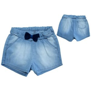 Shorts Jeans Laço Renda Jeito Infantil Azul Claro