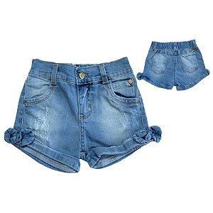 Shorts Jeans Infantil Laço Perna Jeito Infantil Azul