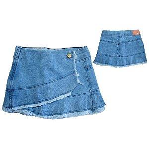 Saia Jeans Com Lapela Jeito Infantil Azul Claro