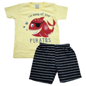 Conjunto Infantil Peixe Pirata Kibs Kids Amarelo