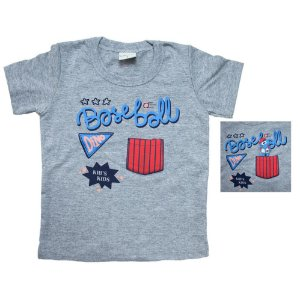 Camiseta Bebê Baiseball Kibs Kids Mescla
