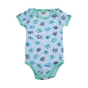 Body Bebê Monstrinhos Jeito Infantil Branco e Verde