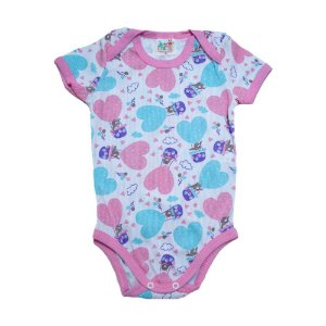 Body Bebê Corações Jeito Infantil Branco e Rosa