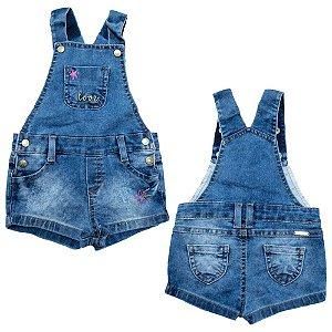 Jardineira Jeans Bebê Love Jeito Infantil Azul