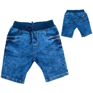 Bermuda Jeans Infantil Cós Ribana Jeito Infantil Marinho
