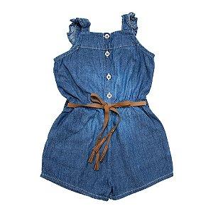 Macaquinho Jeans Bebê Com Cinto Jeito Infantil Azul