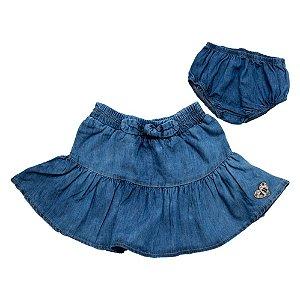 Conjunto Bebê Jeans Saia E Tapa Fralda Jeito Infantil Azul
