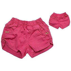 Shorts Bebê Sarja Com Babado  Jeito Infantil Coral