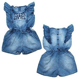Macaquinho Bebê Jeans Bordado Jeito Infantil Azul