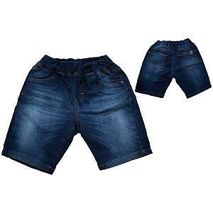Bermuda Jeans Infantil Com Cadarço Jeito Infantil Marinho