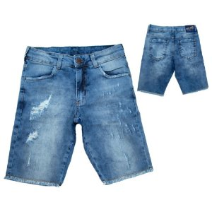 Bermuda Jeans Com Rasgado Juvenil Jeito Infantil Azul